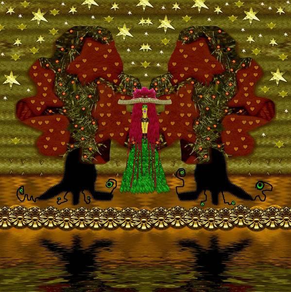 Pumkin Wall Art - Mixed Media - Lady Panda In The Breadfruit Forest by Pepita Selles