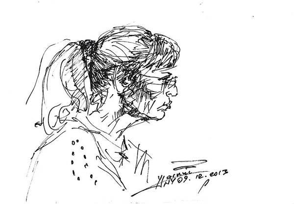 Wall Art - Drawing - Lady Profile by Ylli Haruni