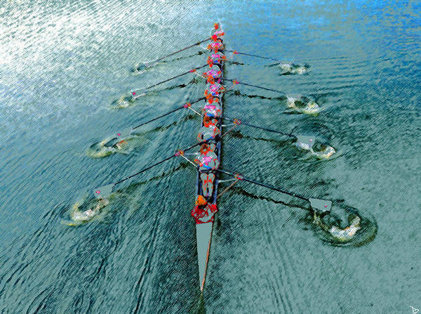 Rowing Wall Art - Painting - Lady Scullers by David Lee Thompson