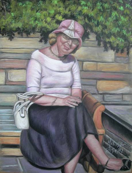 Wall Art - Painting - Lady Sitting On A Bench With Pink Hat by Melinda Saminski