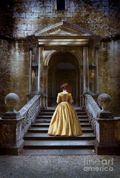 Wall Art - Photograph - Lady Walking Up Stone Steps by Jill Battaglia