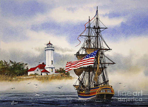 Port Townsend Painting - Lady Washington At Point Wilson Lighthouse by James Williamson