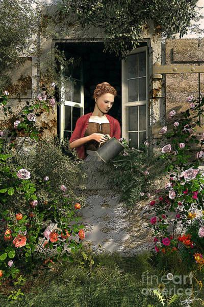 Water Plant Digital Art - Lady Window by MGL Meiklejohn Graphics Licensing