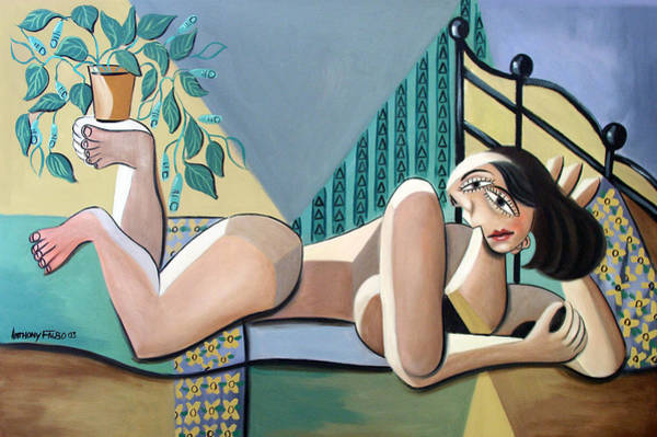 Wing Back Wall Art - Painting - Lady With A Green Thumb by Anthony Falbo