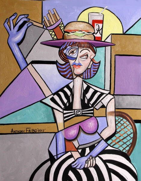 Painting - Lady With A Lunch Hat by Anthony Falbo