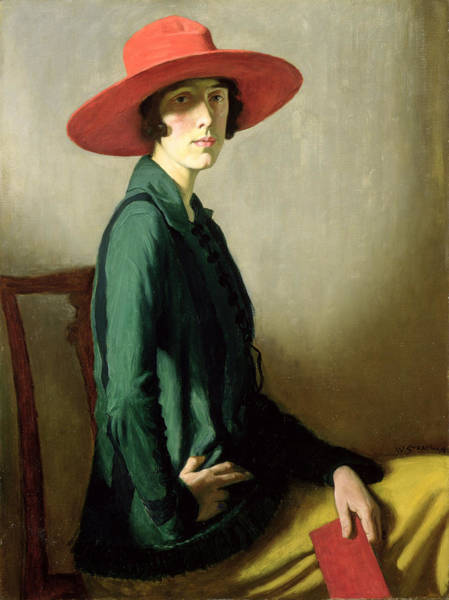 Confident Painting - Lady With A Red Hat by William Strang