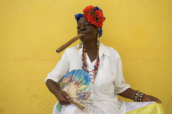 Headwear Photograph - Lady With Fan And Cigar, Old Havana by Karl Blackwell