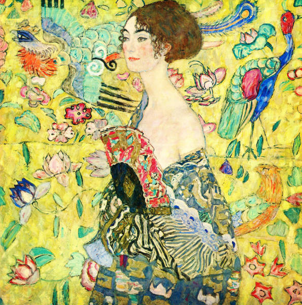 Wall Art - Painting - Lady With Fan by Celestial Images