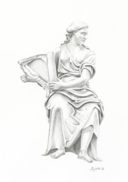 Lady With Harp II Art Print