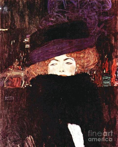 Boa Painting - Lady With Hat And Feather Boa by Pg Reproductions