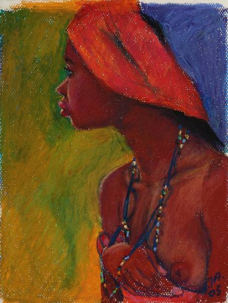 Primary Colors Mixed Media - Lady With Red Headdress by Janet Ashworth