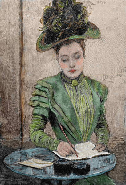 Paper Dress Photograph - Lady Writing A Letter by Prisma Archivo