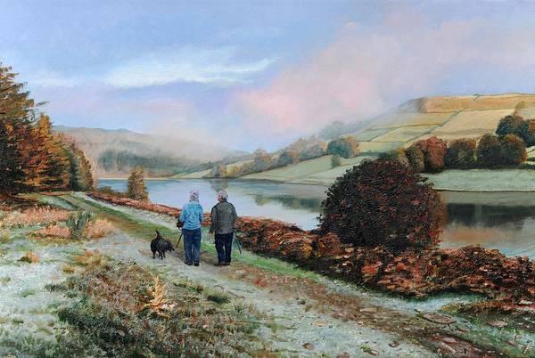Walkers Photograph - Ladybower Reservoir, Derbyshire, 2009 Oil On Canvas by Trevor Neal