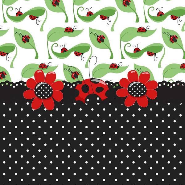 Spring Digital Art - Ladybug Flower Power by Debra  Miller