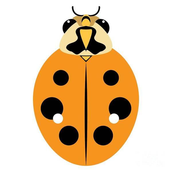 Digital Art - Ladybug Graphic Golden Orange by MM Anderson