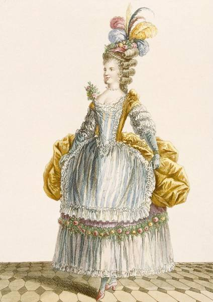 Royal Court Drawing - Ladys Ball Gown, Engraved By Dupin by Pierre Thomas Le Clerc