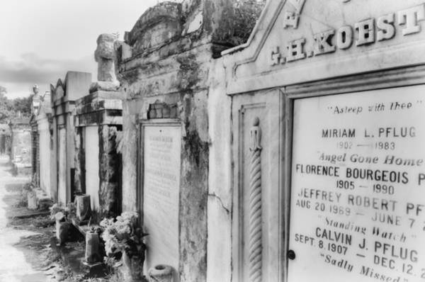 Photograph - Lafayette Cemetery Black And White by Jim Shackett