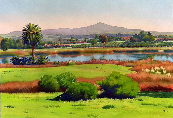 California Landscape Painting - Lago Lindo Rancho Santa Fe by Mary Helmreich