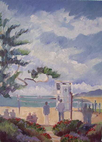 Volley Painting - Laguna Lifeguard Stand by Linda  Wissler