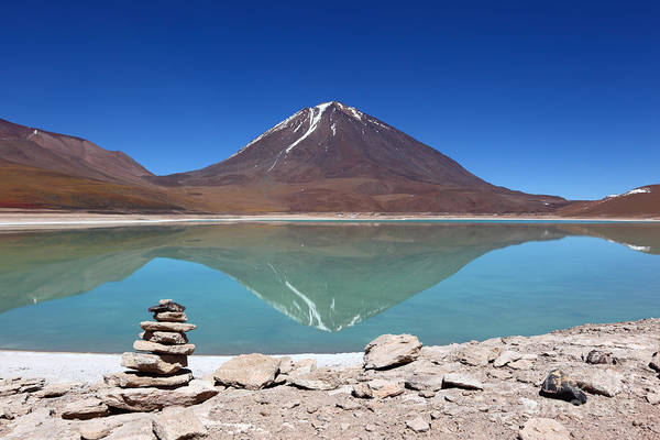 Photograph - Laguna Verde And Licancabur Volcano by James Brunker