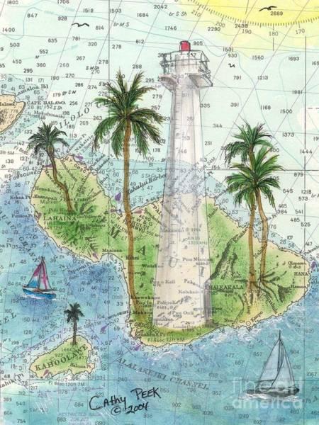 Cathy Painting - Lahaina Lighthouse Maui Hi Nautical Chart Map Art Cathy Peek by Cathy Peek
