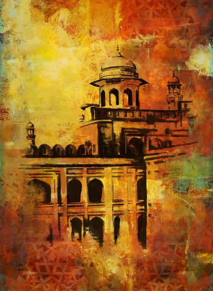 Wall Art - Painting - Lahore Fort by Catf