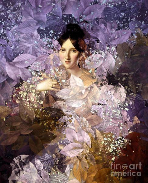 Gold Leaves Digital Art - Laila - Des Femmes Et Des Fleurs by Aimelle