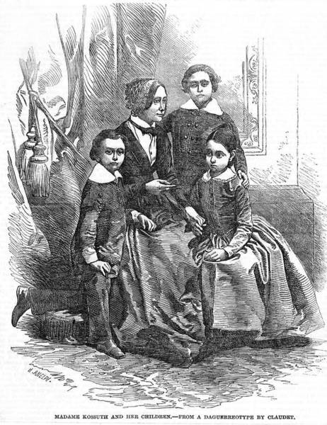 Wall Art - Drawing - Lajos Kossuth  Wife And Children by  Illustrated London News Ltd/Mar