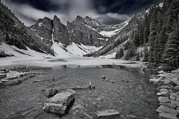 Photograph - Lake Agnes - Black And White by Stuart Litoff