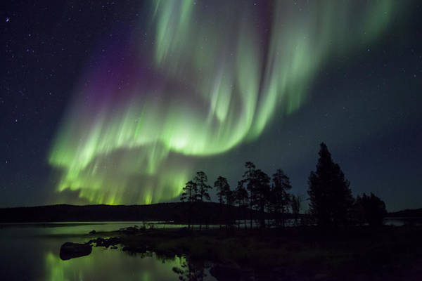 Photograph - Lake And Aurora Borealis Lake Inari by Heike Odermatt