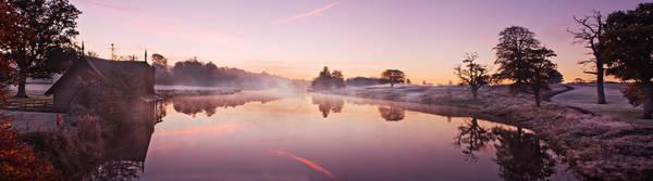 Maynooth Photograph - Lake At Dawn Panorama - Ireland by Barry O Carroll