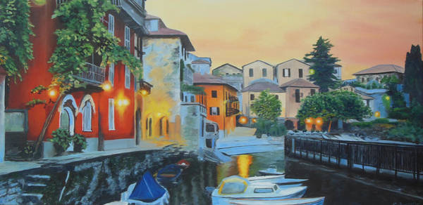 Lake Como Painting - Lake Como At Sunset by Sue Birkenshaw