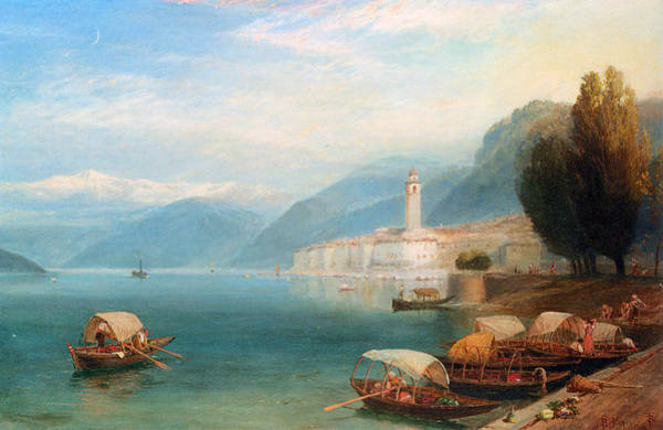 Oar Digital Art - Lake Como by Myles Birket Foster