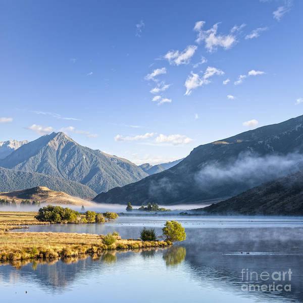 Lake Grasmere And Southern Alps Canterbury New Zealand Art Print