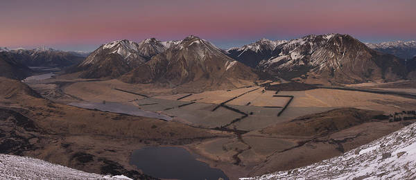 Alpen Glow Wall Art - Photograph - Lake Grassmere Basin Canterbury New by Colin Monteath