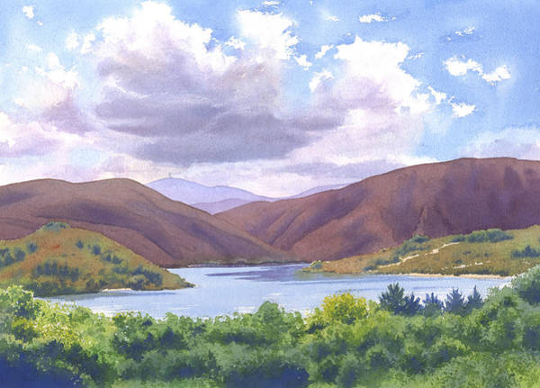 Watercolour Landscape Painting - Lake Hodges San Diego by Mary Helmreich