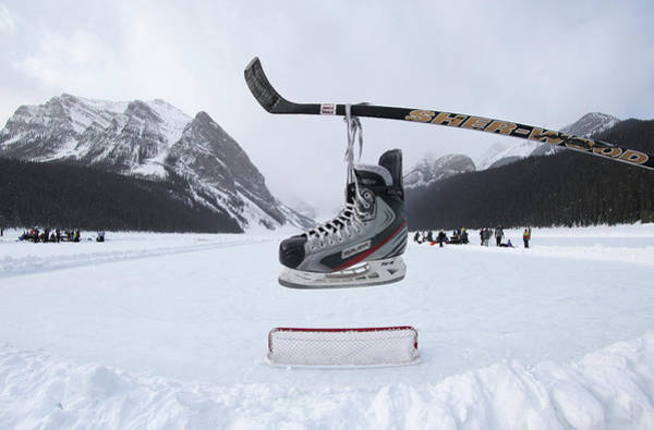 Ice Hockey Photograph - Lake Louise Pond Hockey Classic by Tom Szczerbowski
