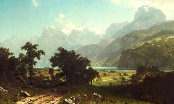 Rockies Digital Art - Lake Lucerne by Albert Bierstadt