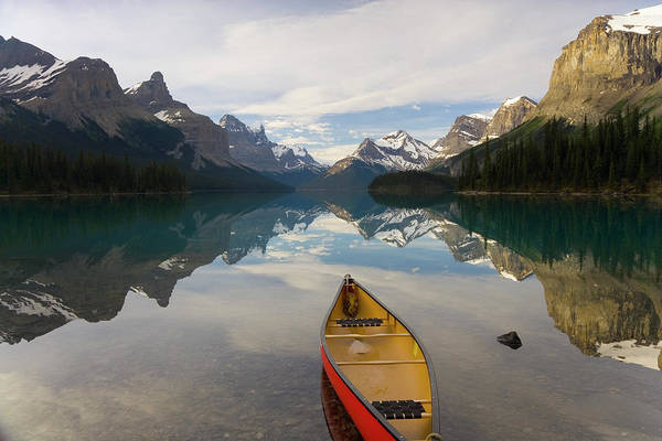 Canoe Photograph - Lake Maligne, Near Jasper, Jasper by Peter Adams