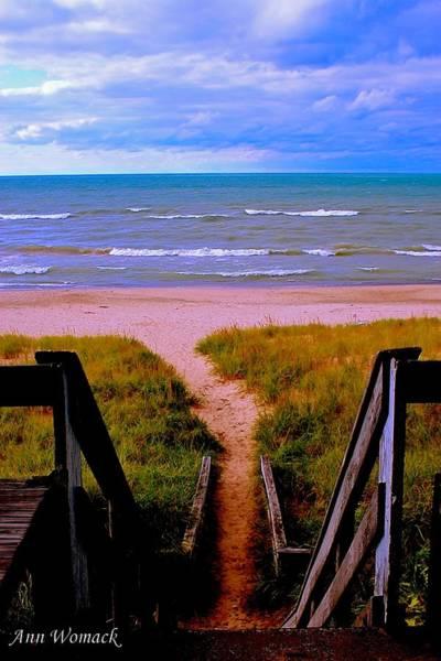 Rungs Wall Art - Photograph - Lake Michigan Beach Ladder  by Ann  Womack