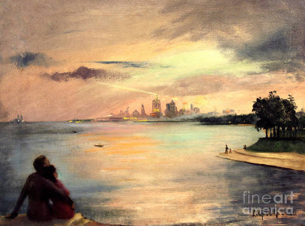 Painting - Lake Michigan Chicago Skyline 1952 by Art By Tolpo Collection