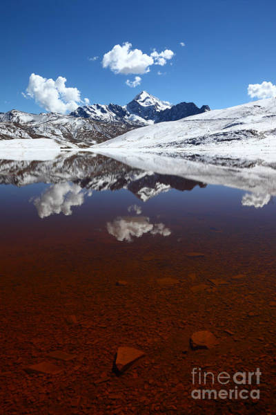 Photograph - Lake Milluni And Mt Huayna Potosi by James Brunker