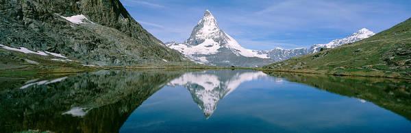 Wall Art - Photograph - Lake, Mountains, Matterhorn, Zermatt by Panoramic Images
