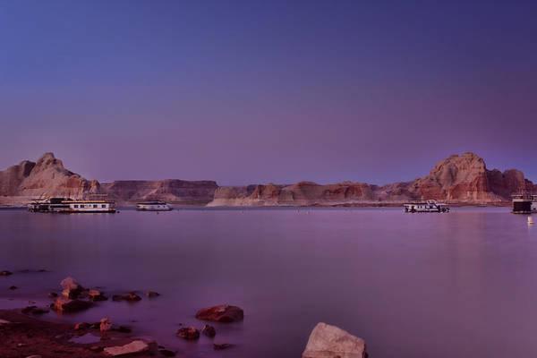 Houseboat Photograph - Lake Powell Sunset by Ellen Heaverlo