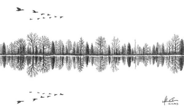 White Goose Drawing - Lake Reflection by Adam Vereecke