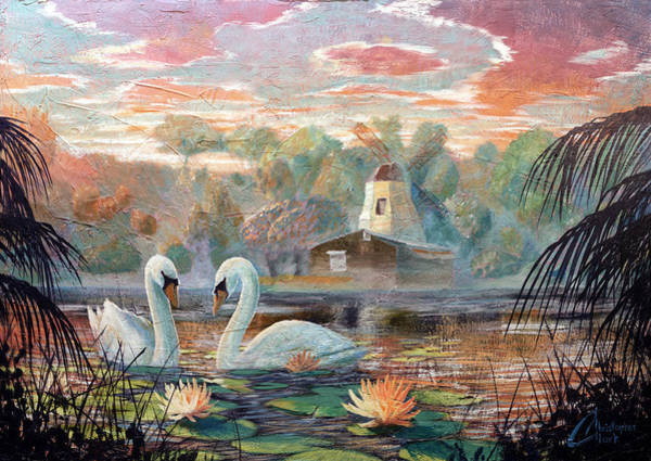 Paramhansa Yogananda Painting - Lake Shrine - Cool Colors by Christopher Clark