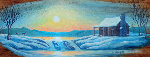 Painting - Lake Sunrise And The Old Cabin by Duane McCullough