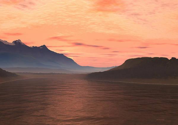 Digital Art - Lake Sunset 1 by Judi Suni Hall