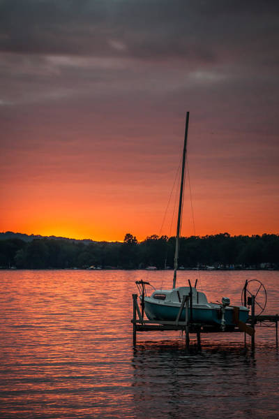 Photograph - Lake Sunset And Sailboat by At Lands End Photography