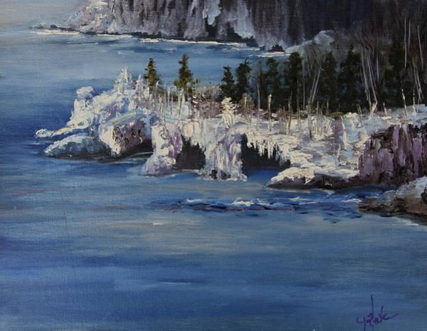 Lake Superior Painting - Lake Superior Ice Storm by Joi Electa
